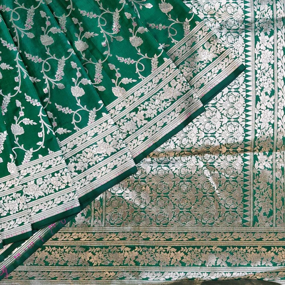 Dark Green Banarasi Katan Silk Saree -0