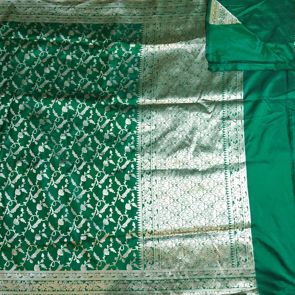 Dark Green Banarasi Katan Silk Saree -10109