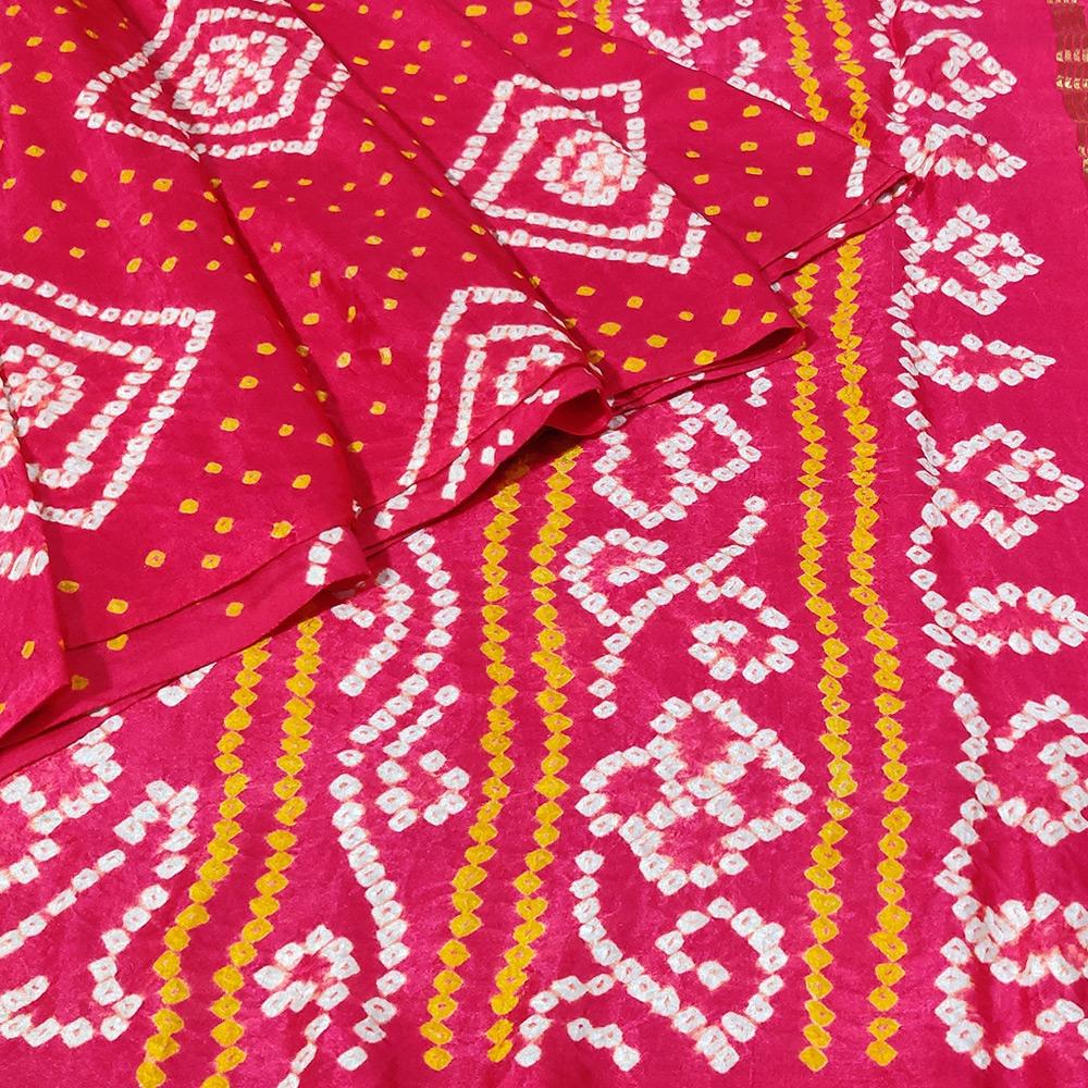 Red Bandhani Gajji Silk Saree-10210