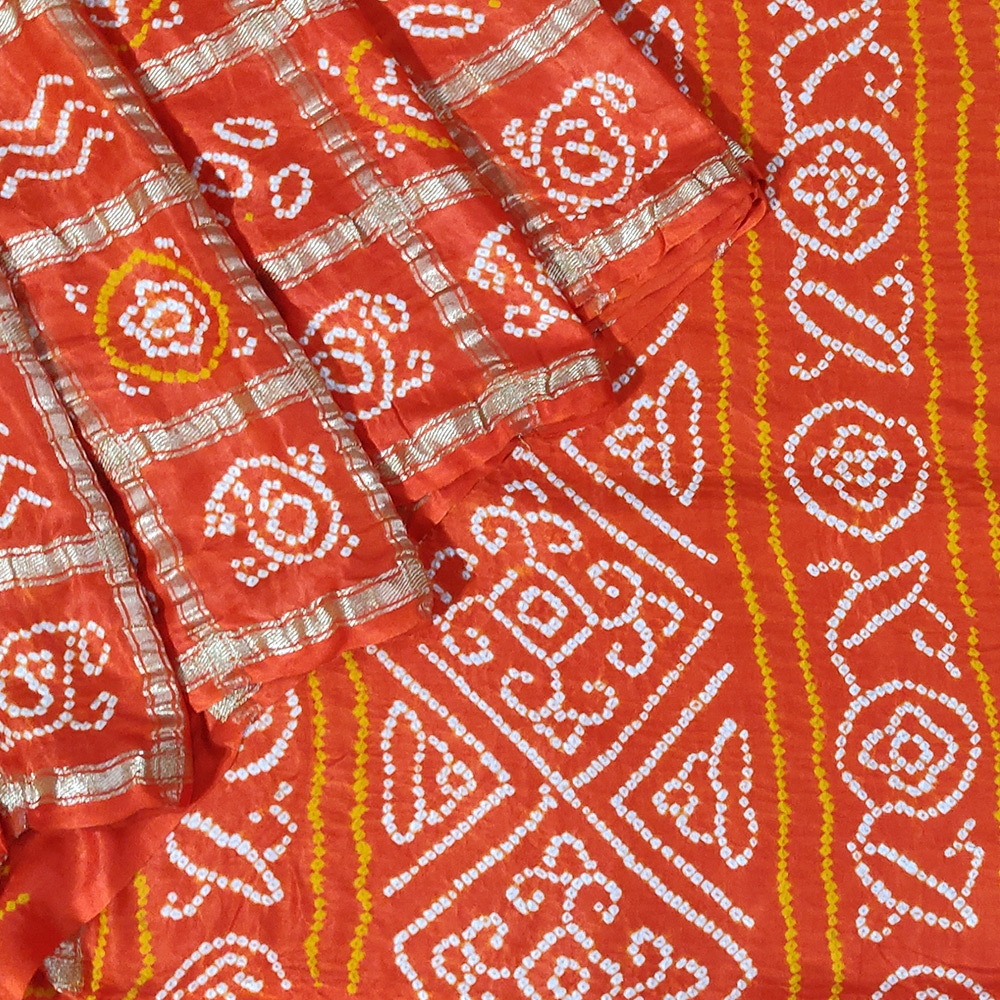 Orange Bandhani Gajji Silk Saree-0