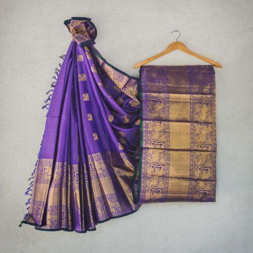 Deep purple handwoven silk saree with intricate grand zari work-0
