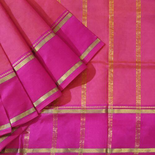 Coral Pink Kanchipuram Silk Cotton Saree With Magenta Border-0