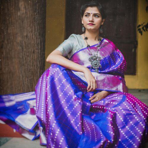 Indigo and purple double shade handloom silk saree-0