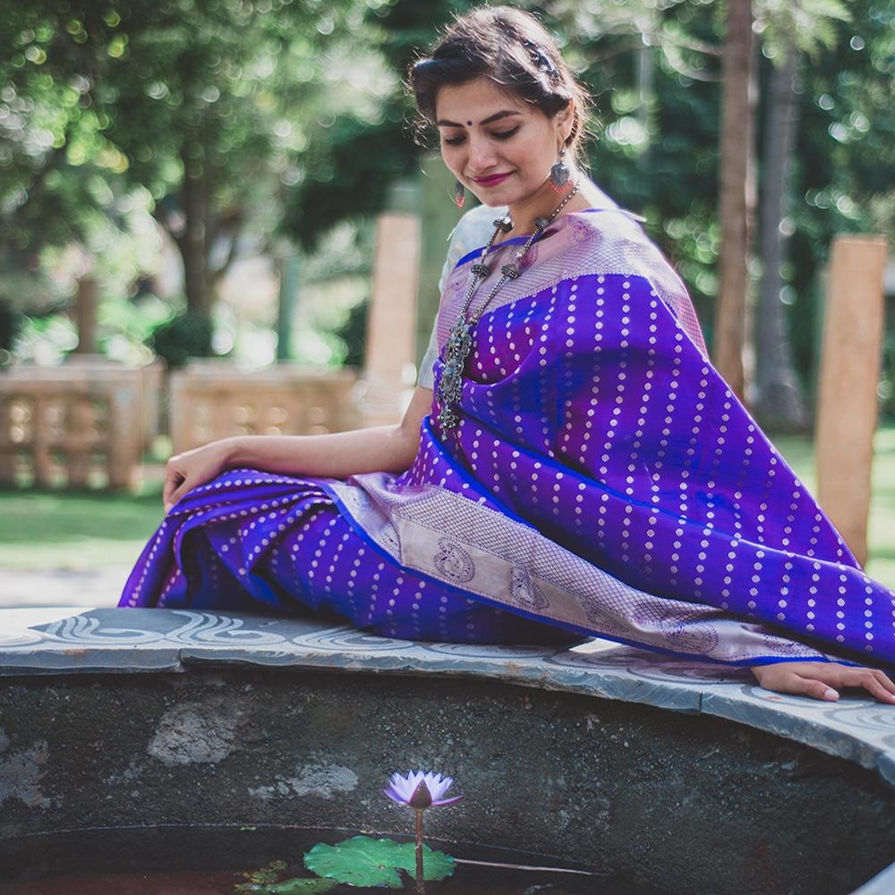 Indigo and purple double shade handloom silk saree-10178