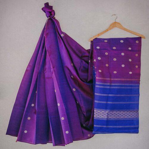 Deep Purple and blue double shade Silk Saree with rudraksh buttas ans cobalt blue pallu-0