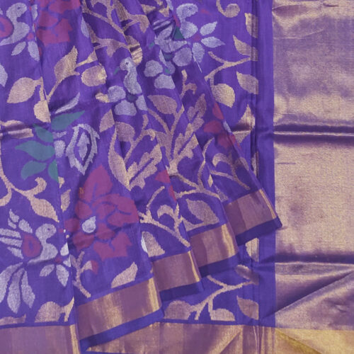 Purple Handloom Banarsi silk saree