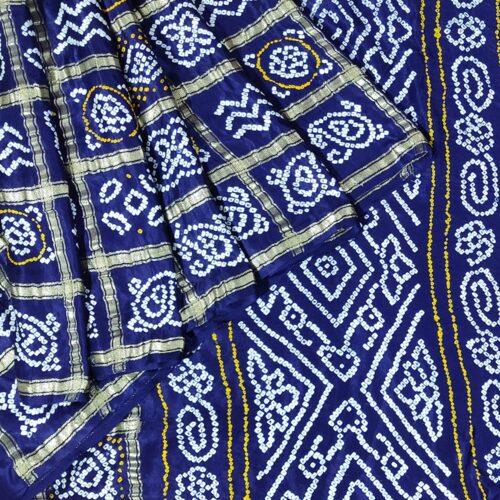 Dark Blue Bandhani Gajji Silk Saree-0