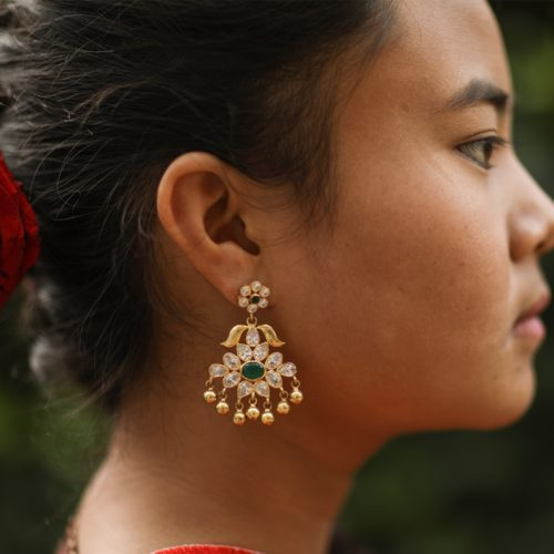 Silver With Gold Plating Filigree Earrings