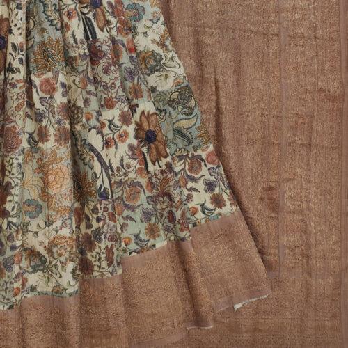 Beige Tussar Handloom Silk Saree