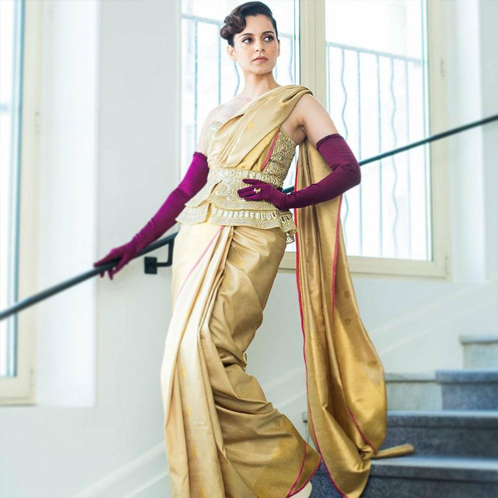 Kangana gold Saree