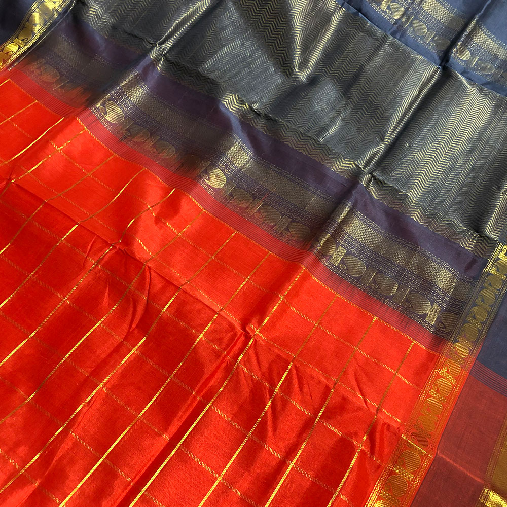 Scarlet Red Kanchipuram Silk Cotton Saree