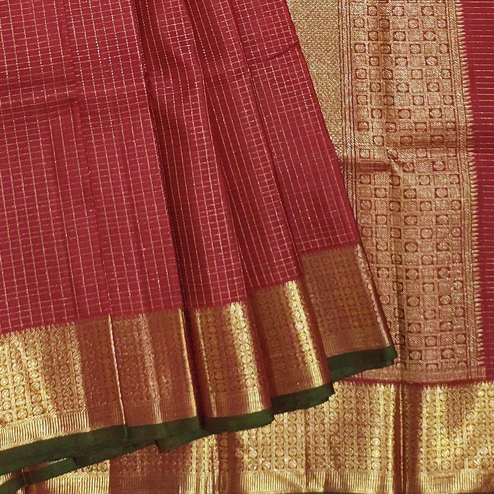 Crimson Red Handloom Kanchipuram Silk Saree