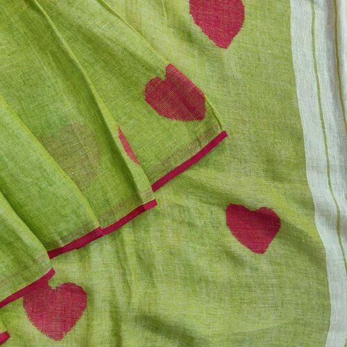 Lime green Linen Cotton saree