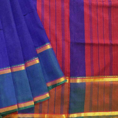 Blue & Red Silk Cotton