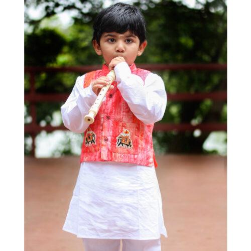 White Kurta with Jacket for boys