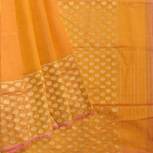 Orange Cotton banraasi saree