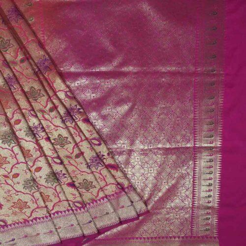 Pink and Gold Shade Banarsi Saree