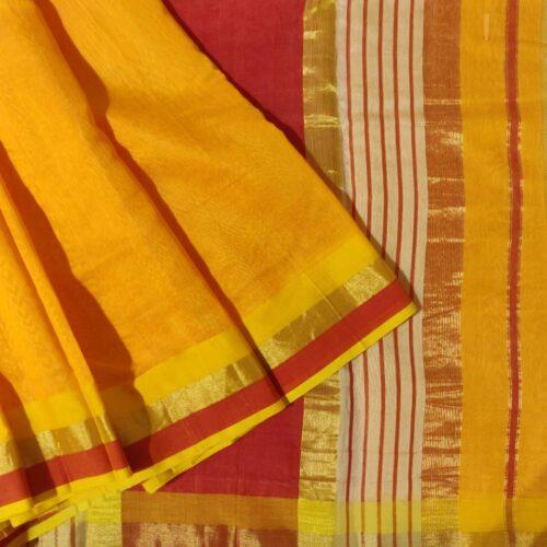 Madhurya Yellow and Red Maheshwari Saree