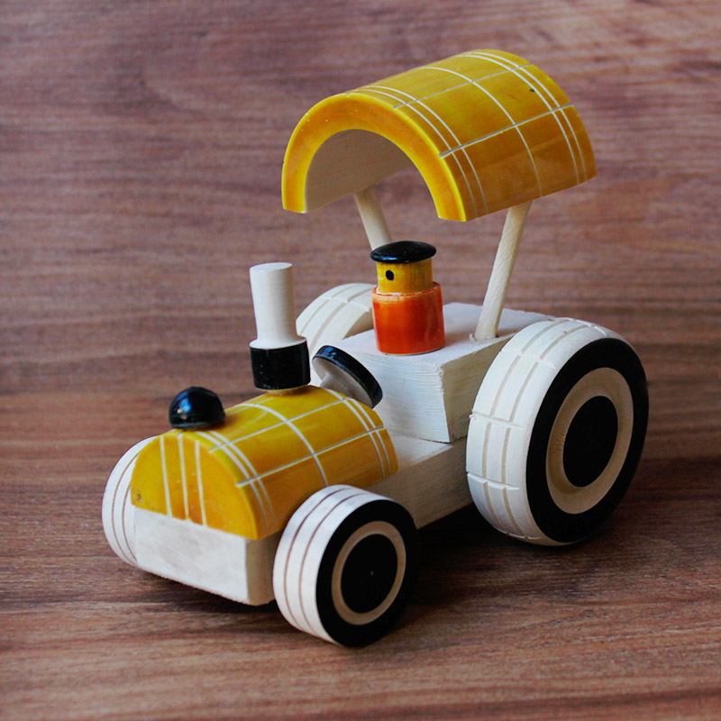 Yellow Tractor Channapatna toy