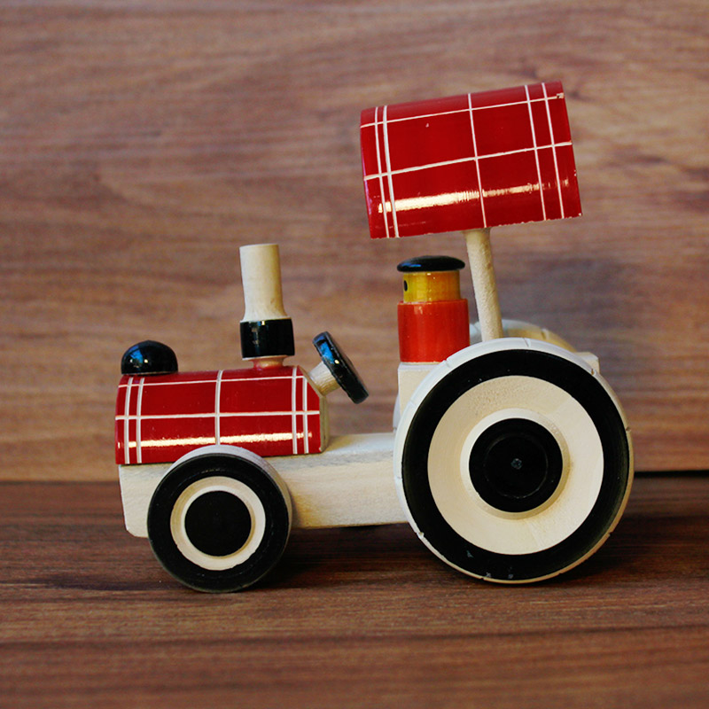 Red Tractor wooden channapatna toy