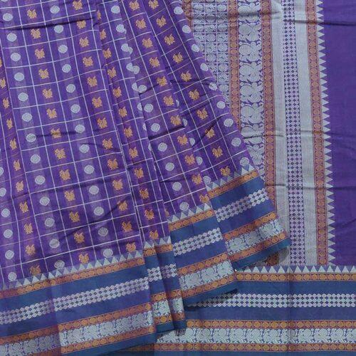 Purple Kanchipuram Handloom Cotton Saree