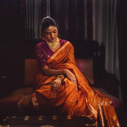 Handloom Silk Rust Uppada saree