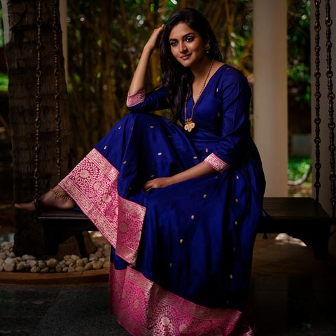 Madhurya Banarasi Blue Angrakha Kurta